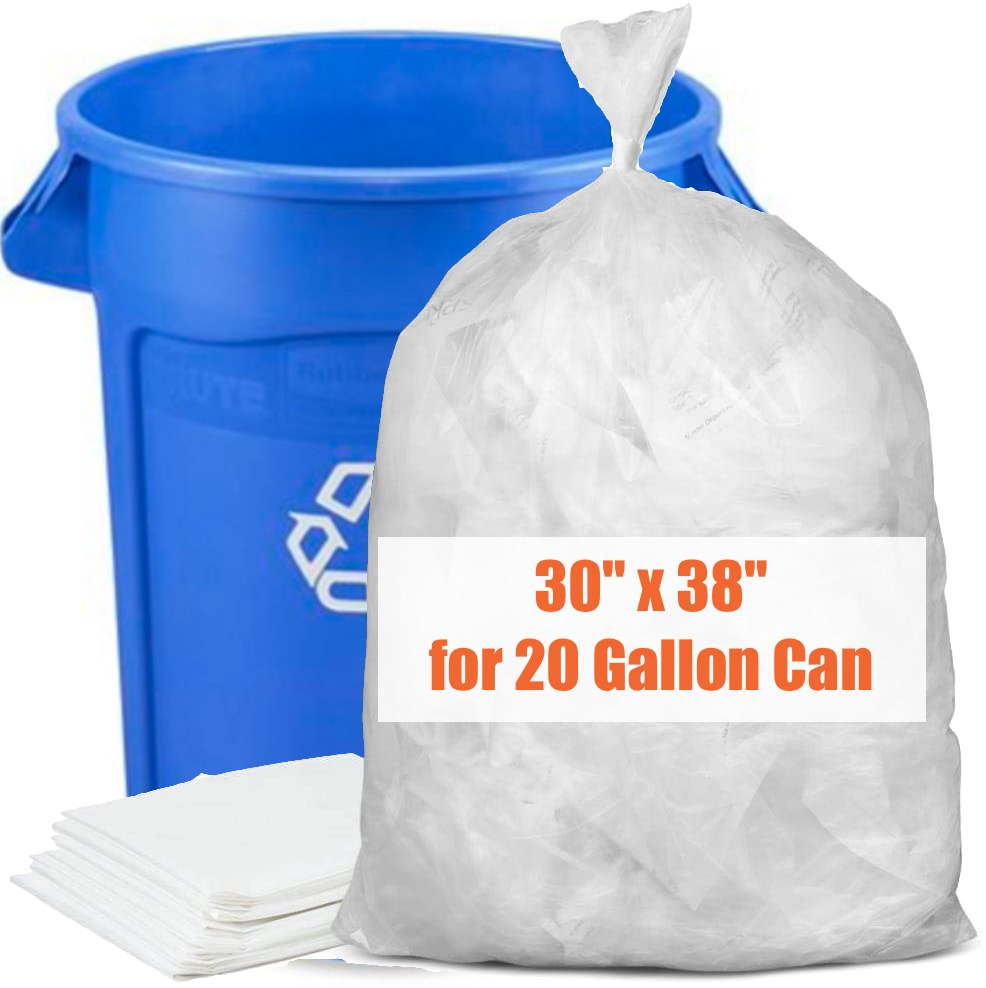Clear Recycling Bags - Strong - 125 Pack - 30 x 38